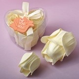 FashionCraft Ivory Delicate Rose Soap in Clear Heart-Shaped Container