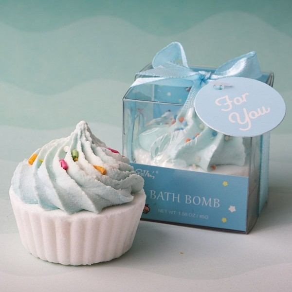 FashionCraft Adorable Blue Cupcake-Shaped Bath Fizzer in Gift-Box