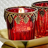 FashionCraft Red Mercury Glass East Indian-Themed Candle Votive