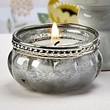 FashionCraft Silver & White Vintage-Look Mercury Glass Tealight Holder