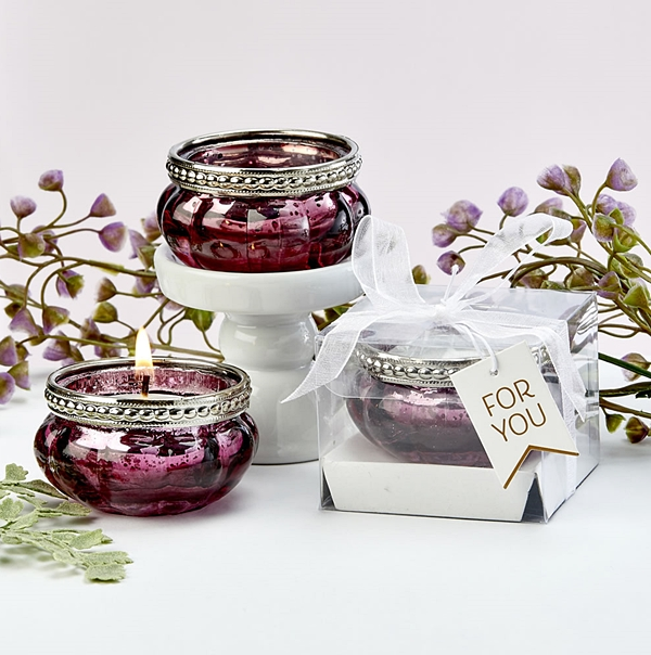FashionCraft Burgundy Rose Vintage-Look Mercury Glass Tealight Holder