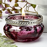 FashionCraft Burgundy Rose Vintage-Look Mercury Glass Tealight Holder