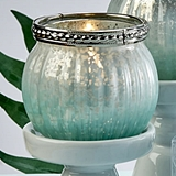 FashionCraft Mint Green Ombre Vintage-Look Mercury Glass Candle Holder