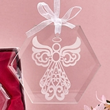 FashionCraft Etched Glass Guardian Angel Design Octagonal Ornament
