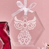 FashionCraft Etched Glass Guardian Angel Design Octagonal Ornament