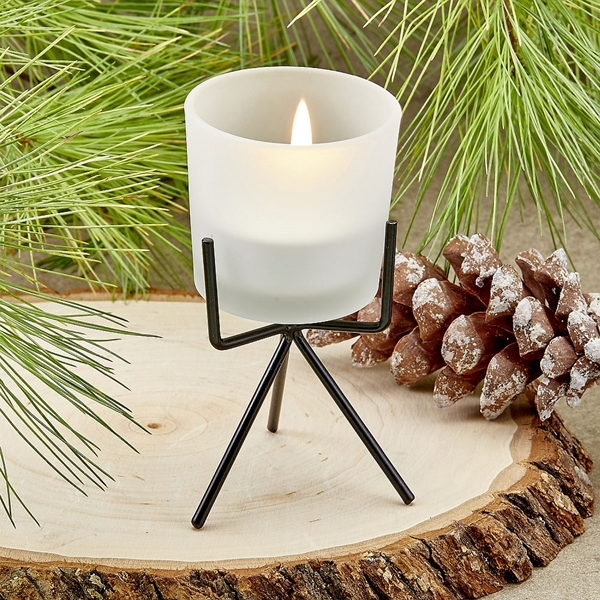 FashionCraft Frosted Glass Votive Candle Holder with Black Metal Stand
