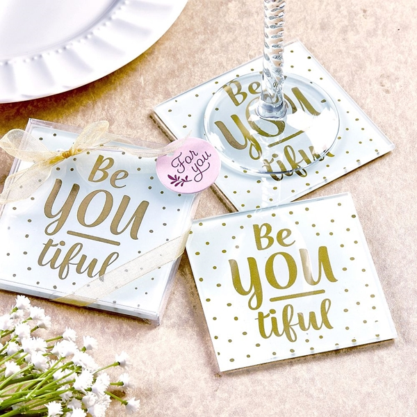 "FashionCraft ""Be-You-tiful"" Glass Coasters (Set of 2)"