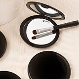 FashionCraft Perfectly Plain Collection Black Plastic Compact Mirror