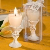 FashionCraft Stylish Bride & Groom Design Champagne Flute Candleholder