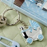 FashionCraft Key Chain with Blue Baby Carriage-Shaped Charm