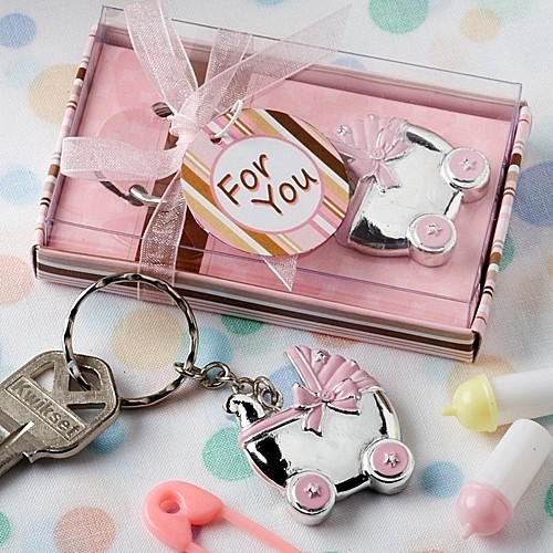 FashionCraft Key Chain with Pink Baby Carriage-Shaped Charm