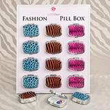 FashionCraft Stylish Assorted Animal Print Pill Boxes (Set of 12)