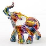 FashionCraft Small-Size Unique Colorful Tie-Dye Elephant Figurine