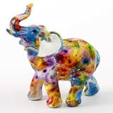 FashionCraft Medium-Size Unique Colorful Tie-Dye Elephant Figurine