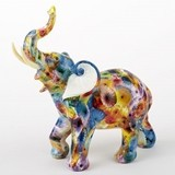 FashionCraft Large-Size Unique Colorful Tie-Dye Elephant Figurine