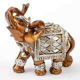 FashionCraft Small-Size Mahogany with Silver Accents Elephant Figurine