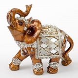 FashionCraft Medium-Size Mahogany w/ Silver Accents Elephant Figurine