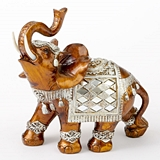 FashionCraft Large-Size Mahogany with Silver Accents Elephant Figurine