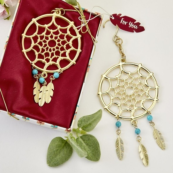 Fashioncraft Gold-Metal Dream Catcher-Themed Hanging Ornament