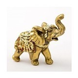 FashionCraft Mini Elephant Figurine in Gold with Faceted Jewels