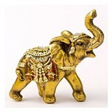 FashionCraft Small Elephant Figurine in Gold with Faceted Jewels