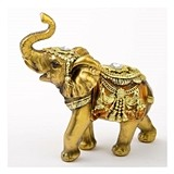 FashionCraft Medium Elephant Figurine in Gold with Faceted Jewels