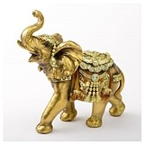 FashionCraft Standard Elephant Figurine in Gold with Faceted Jewels