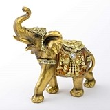 FashionCraft Large Elephant Figurine in Gold with Faceted Jewels