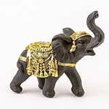 FashionCraft Small-Size Ebony with Gold Accents Elephant Figurine
