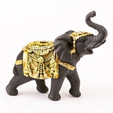 FashionCraft Medium-Size Ebony with Gold Accents Elephant Figurine