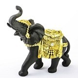 FashionCraft Large-Size Ebony with Gold Accents Elephant Figurine