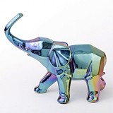 FashionCraft Small-Size Iridescent Ceramic Elephant Figurine