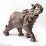 FashionCraft Large-Size 'Mocha Blends' Geometric Design Elephant