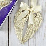 FashionCraft Antiqued Ivory and Gold Angel Wings Ornament