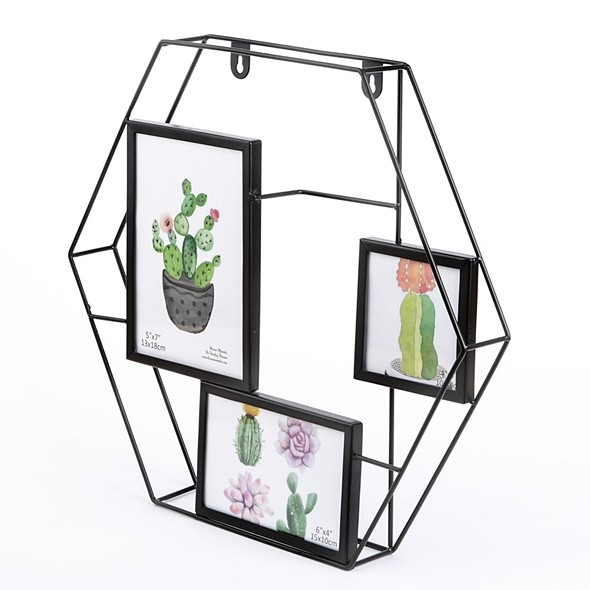 FashionCraft Hexagonal Metal-Wire Collage Frame with 3 Openings