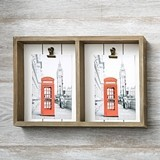 FashionCraft Distressed Wood Double Box Frame with Two Holder Clips