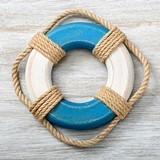 FashionCraft Wooden Life Preserver Wall Art with Real Nautical Rope