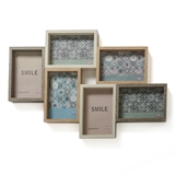 FashionCraft Wood Puzzle Collage Frame with Six (6) Openings