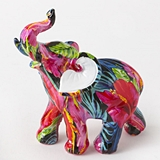 FashionCraft Small-Size Tropical Floral Elephant Figurine