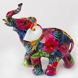 FashionCraft Medium-Size Tropical Floral Elephant Figurine