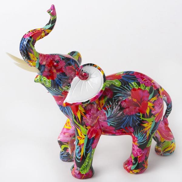 FashionCraft Large-Size Tropical Floral Elephant Figurine