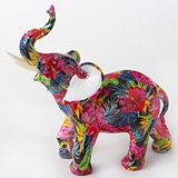 FashionCraft Large-Size Tropical Floral Elephant Figurine
