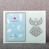 FashionCraft Silver Guardian Angel on White Frosted Glass 4x6 Frame
