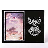 FashionCraft Silver Guardian Angel on Black Frosted Glass 4x6 Frame