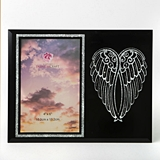 FashionCraft Silver Angel Wings on Black Frosted Glass 4x6 Frame