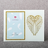 FashionCraft Gold Angel Wings on White Frosted Glass 4x6 Frame
