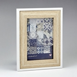FashionCraft Natural Wood 5 x 7 Frame with Thin White Outer Border