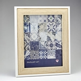 FashionCraft Natural Wood 8 x 10 Frame with Thin White Outer Border