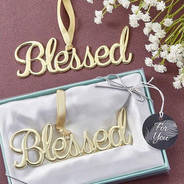 """FashionCraft Gold-Colored Cast-Metal """"Blessed"""" Ornament"""