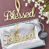 "FashionCraft Gold-Colored Cast-Metal ""Blessed"" Ornament"